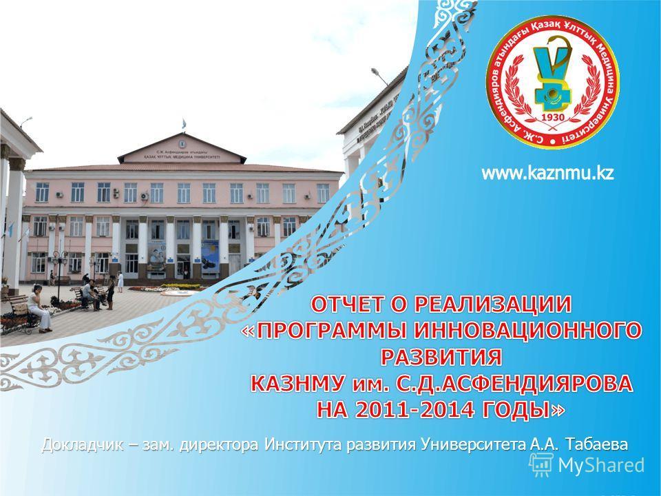 Докладчик – зам. директора Института развития Университета А.А. Табаева