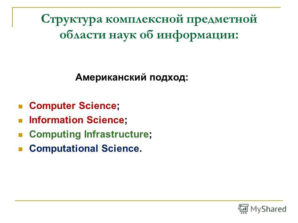 Структура комплексной предметной области наук об информации: Американский подход: Computer Science; Information Science; Computing Infrastructure; Computational Science.