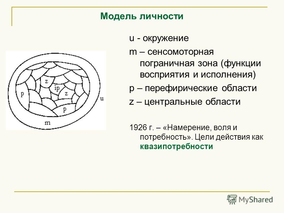 Модель личности u - окружение m – сенсомоторная пограничная зона (функции восприятия и исполнения) p – перефирические области z – центральные области 1926 г. – «Намерение, воля и потребность». Цели действия как квазипотребности