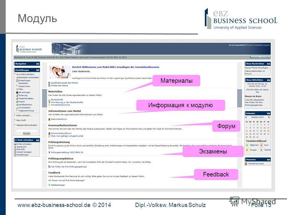 www.ebz-business-school.de © 2014Dipl.-Volksw. Markus Schulz Folie 13 Модуль Форум Материалы Информация к модулю Экзамены Feedback