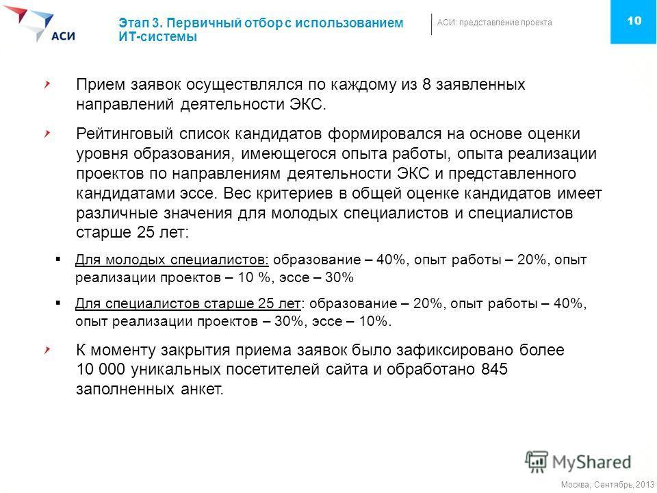 АСИ: представление проекта Москва, Сентябрь, 2013 10 Этап 3. Первичный отбор с использованием ИТ-системы Прием заявок осуществлялся по каждому из 8 заявленных направлений деятельности ЭКС. Рейтинговый список кандидатов формировался на основе оценки у