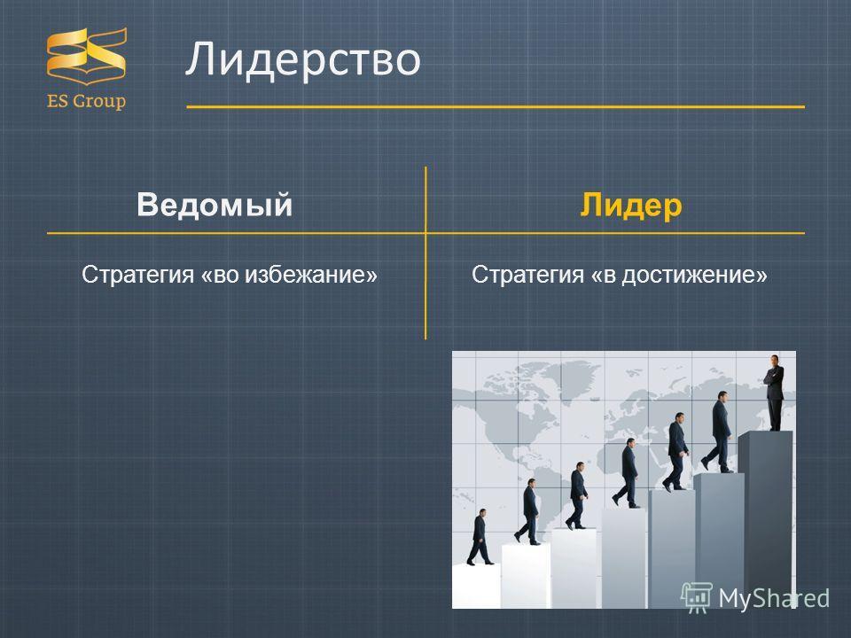 Лидерство Лидер Ведомый Стратегия «во избежание»Стратегия «в достижение»