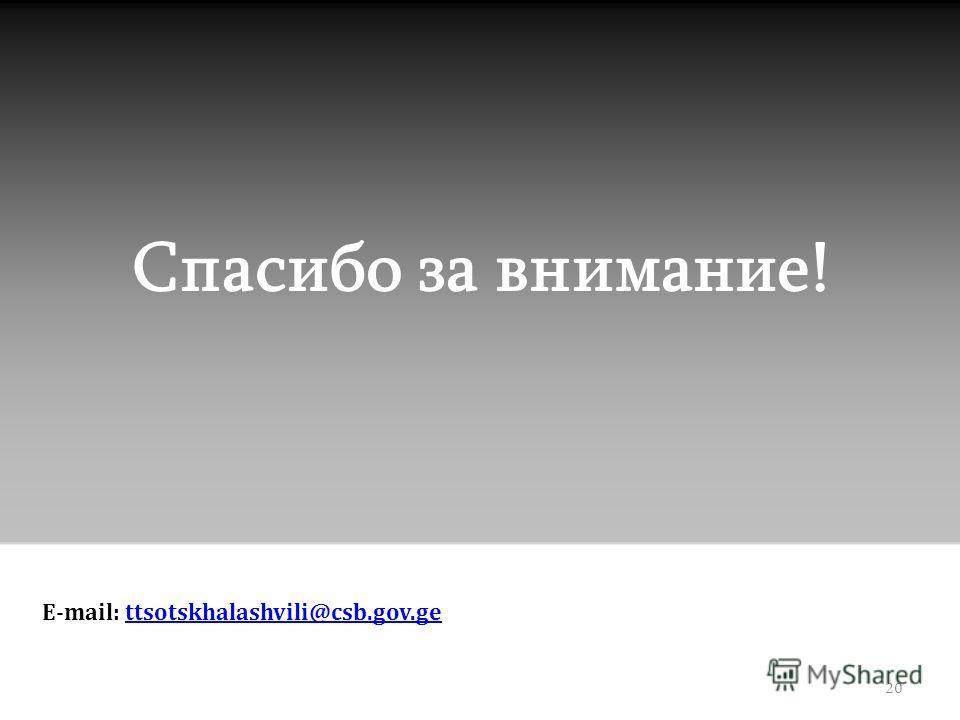 Спасибо за внимание! E-mail: ttsotskhalashvili@csb.gov.gettsotskhalashvili@csb.gov.ge 20