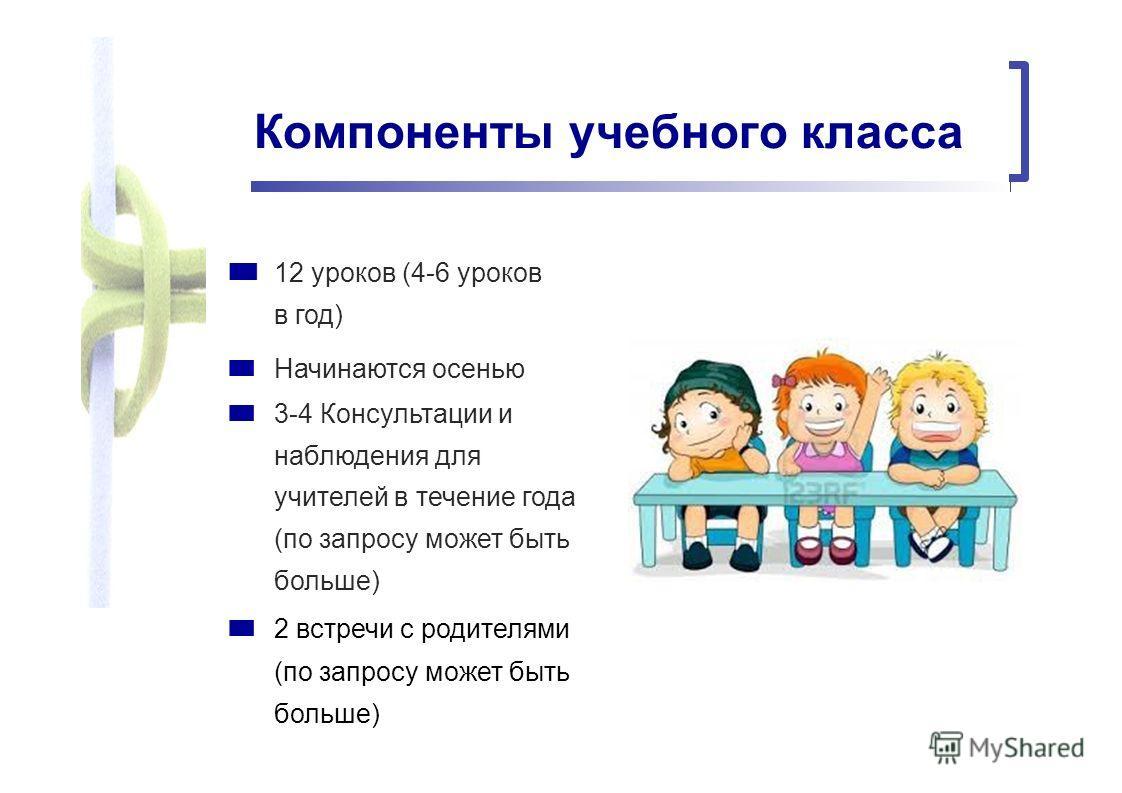 Компоненты учебного класса 12 уроков (4-6 уроков в год) Начинаются осенью 3-4 Консультации и наблюдения для учителей в течение года (по запросу может быть больше) 2 встречи с родителями (по запросу может быть больше)