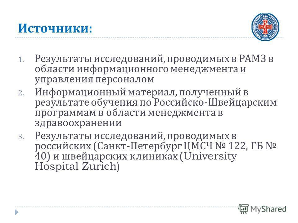 Источники : 1. Результаты исследований, проводимых в РАМЗ в области информационного менеджмента и управления персоналом 2. Информационный материал, полученный в результате обучения по Российско - Швейцарским программам в области менеджмента в здравоо