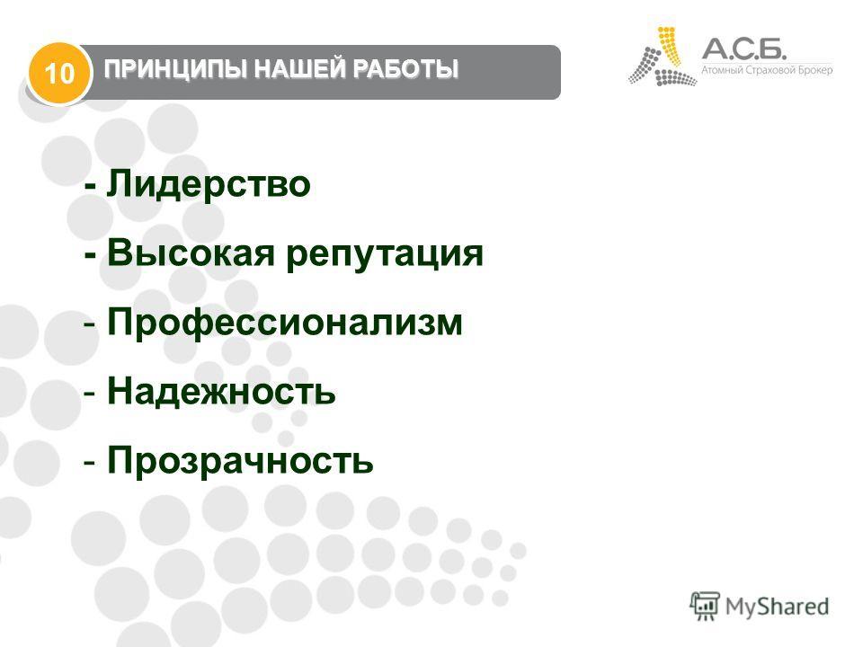 - Лидерство - Высокая репутация - Профессионализм - Надежность - Прозрачность ПРИНЦИПЫ НАШЕЙ РАБОТЫ 10