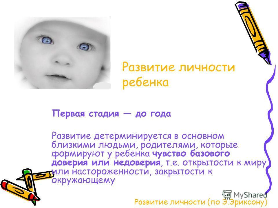 Развитие личности (по Э.Эриксону) Первая стадия до года Развитие детерминируется в основном близкими людьми, родителями, которые формируют у ребенка чувство базового доверия или недоверия, т.е. открытости к миру или настороженности, закрытости к окру