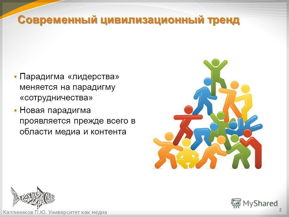 Современный цивилизационный тренд Парадигма «лидерства» меняется на парадигму «сотрудничества» Новая парадигма проявляется прежде всего в области медиа и контента 2 Каллиников П.Ю. Университет как медиа