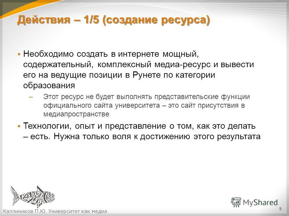 Действия – 1/5 (создание ресурса) Необходимо создать в интернете мощный, содержательный, комплексный медиа-ресурс и вывести его на ведущие позиции в Рунете по категории образования –Этот ресурс не будет выполнять представительские функции официальног
