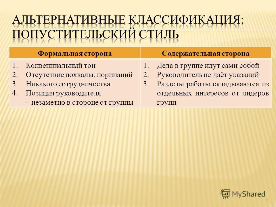 7 Формальная сторона Содержательная сторона 1. Конвенциальный тон 2. Отсутствие похвалы, порицаний 3. Никакого сотрудничества 4. Позиция руководителя – незаметно в стороне от группы 1. Дела в группе идут сами собой 2. Руководитель не даёт указаний 3.