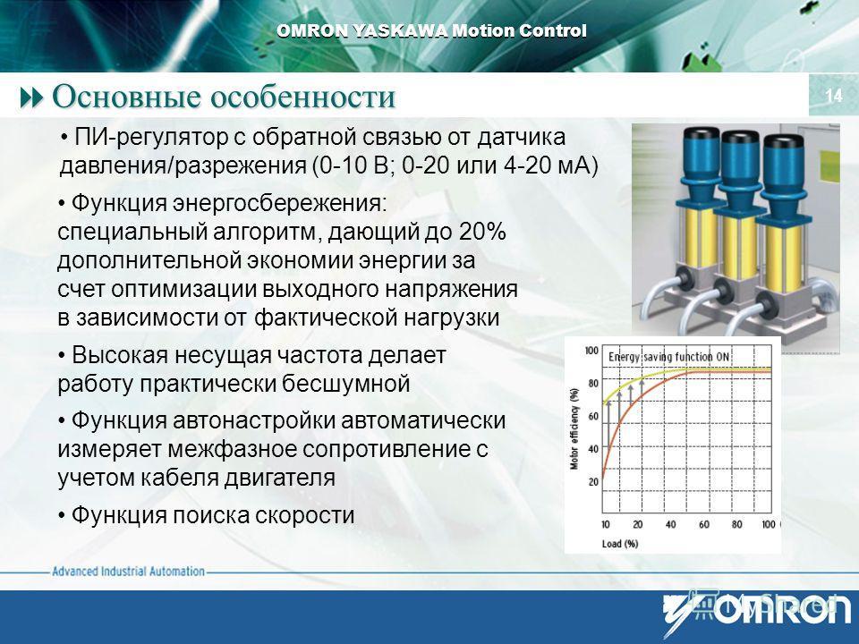 OMRON YASKAWA Motion Control 14 Основные особенности Основные особенности Функция энергосбережения: специальный алгоритм, дающий до 20% дополнительной экономии энергии за счет оптимизации выходного напряжения в зависимости от фактической нагрузки Выс