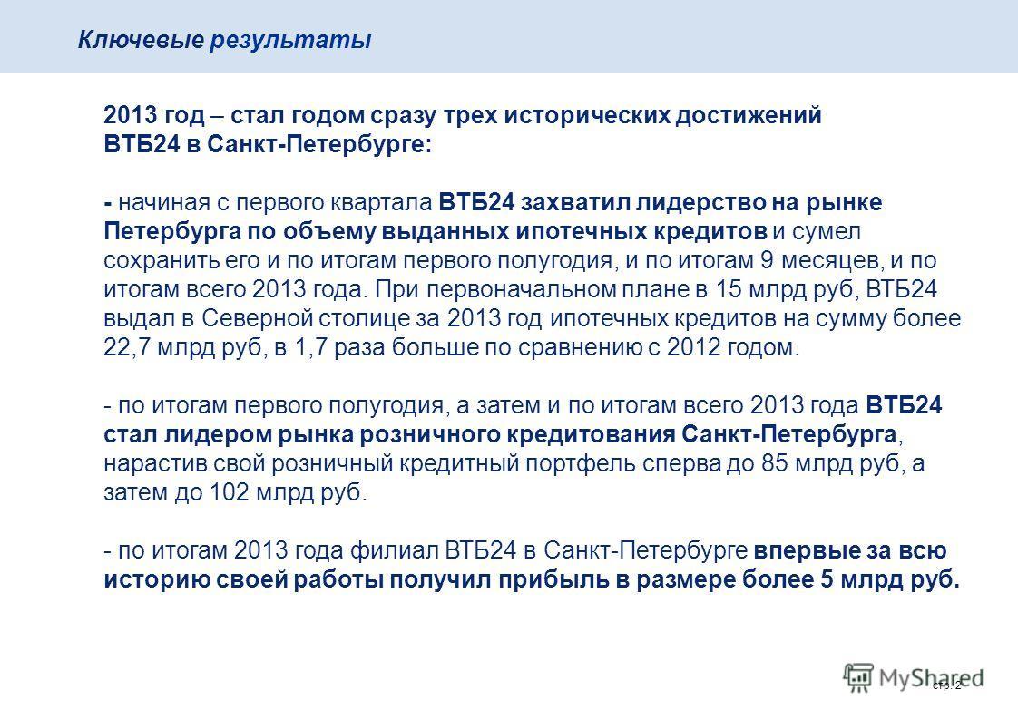 стр. 2 Ключевые результаты 2013 год – стал годом сразу трех исторических достижений ВТБ24 в Санкт-Петербурге: - начиная с первого квартала ВТБ24 захватил лидерство на рынке Петербурга по объему выданных ипотечных кредитов и сумел сохранить его и по и