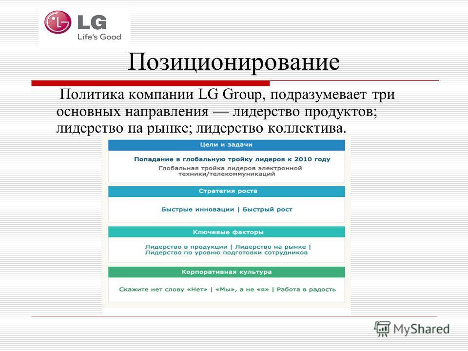 Позиционирование Политика компании LG Group, подразумевает три основных направления лидерство продуктов; лидерство на рынке; лидерство коллектива.