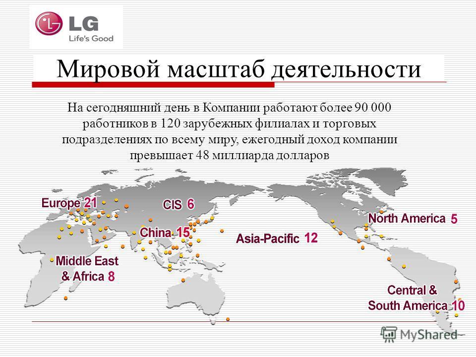 На сегодняшний день в Компании работают более 90 000 работников в 120 зарубежных филиалах и торговых подразделениях по всему миру, ежегодный доход компании превышает 48 миллиарда долларов Мировой масштаб деятельности