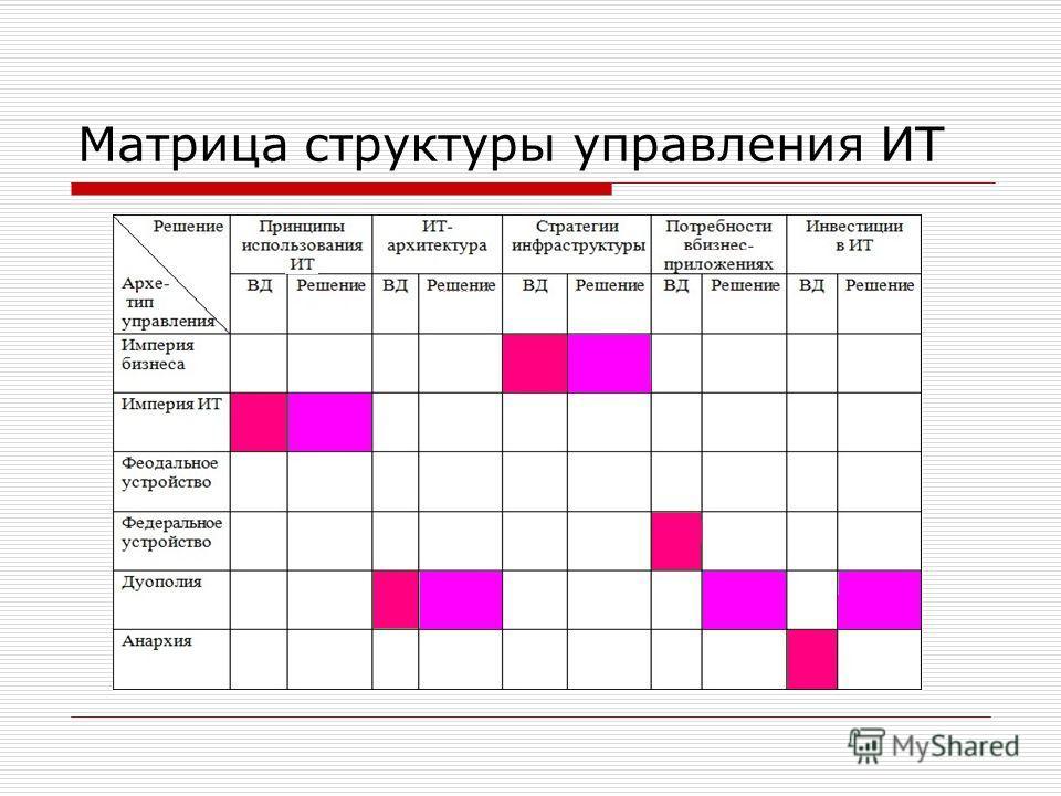 Матрица структуры управления ИТ