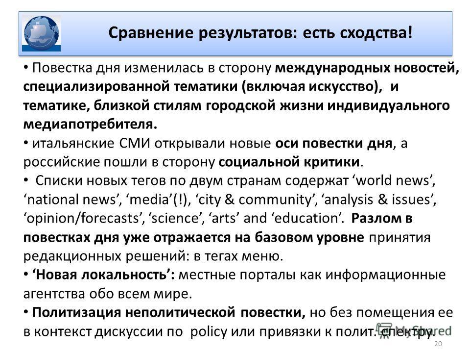 Повестка дня изменилась в сторону международных новостей, специализированной тематики (включая искусство), и тематике, близкой стилям городской жизни индивидуального медиапотребителя. итальянские СМИ открывали новые оси повестки дня, а российские пош