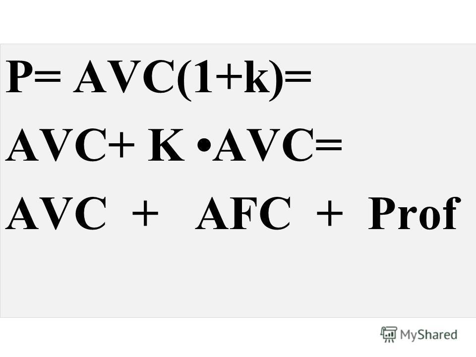 P= AVC(1+k)= AVC+ K AVC= AVC + AFC + Prof