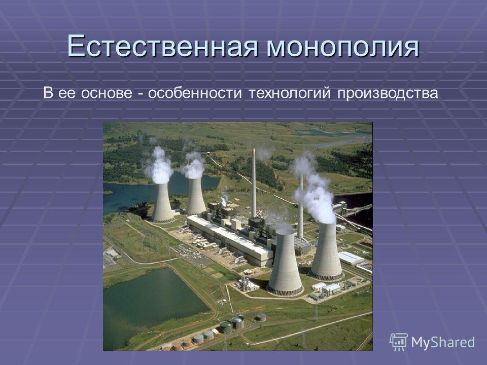Естественная монополия В ее основе - особенности технологий производства