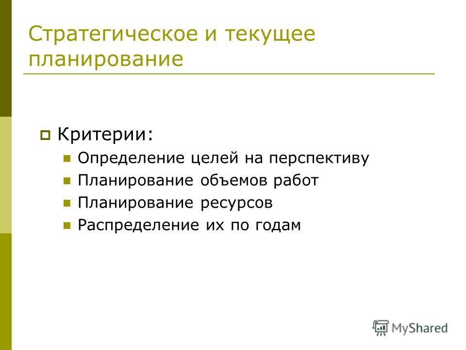 Стратегическое и текущее планирование Критерии: Определение целей на перспективу Планирование объемов работ Планирование ресурсов Распределение их по годам