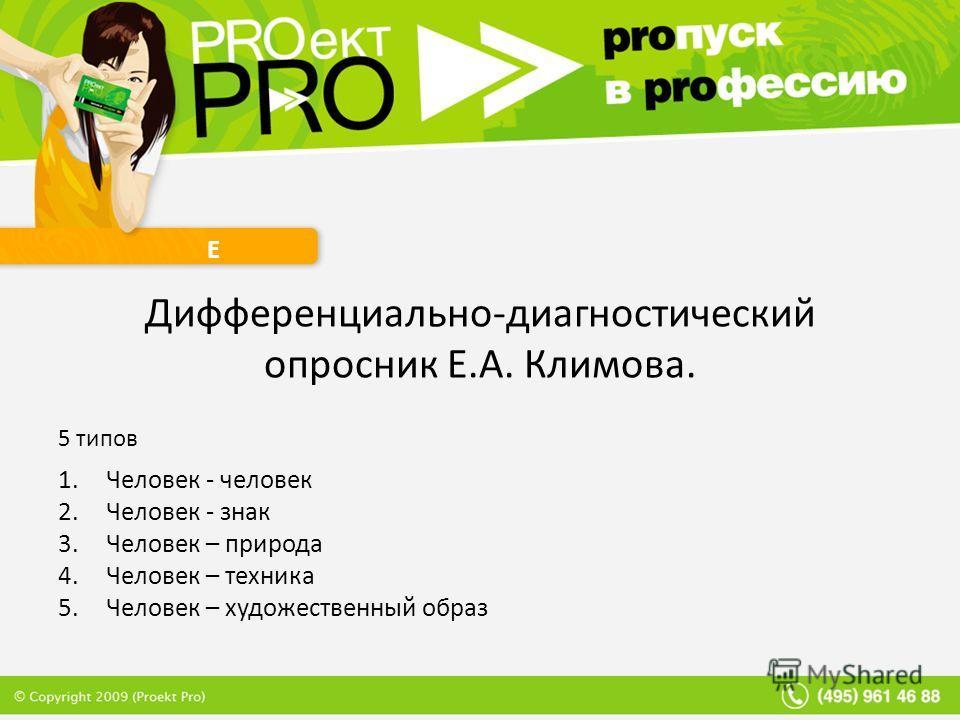 Е Дифференциально-диагностический опросник Е.А. Климова. 5 типов 1. Человек - человек 2. Человек - знак 3. Человек – природа 4. Человек – техника 5. Человек – художественный образ
