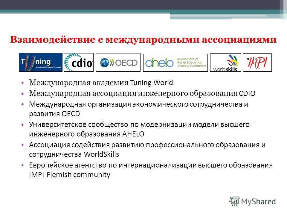 Взаимодействие с международными ассоциациями Международная академия Tuning World Международная ассоциация инженерного образования CDIO Международная организация экономического сотрудничества и развития OECD Университетское сообщество по модернизации