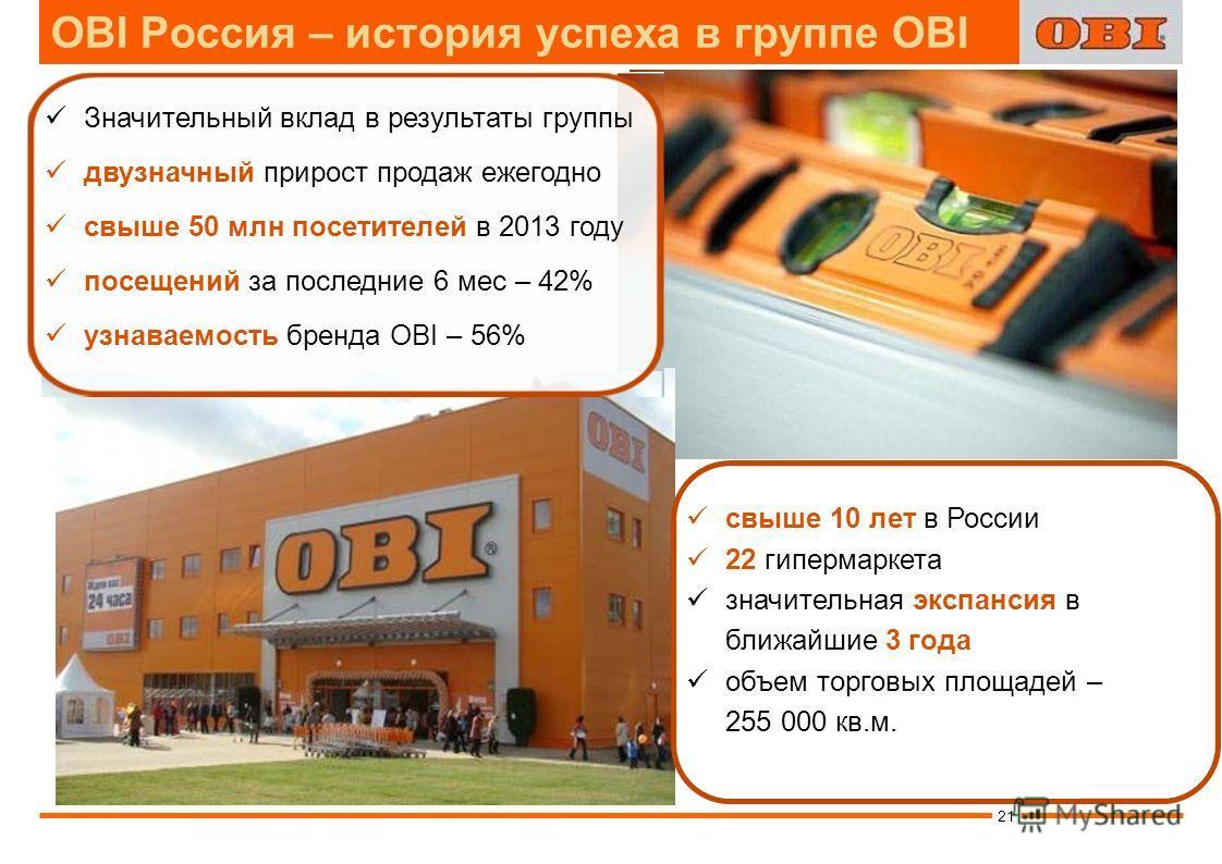 OBI Россия – история успеха в группе OBI свыше 10 лет в России 22 гипермаркета значительная экспансия в ближайшие 3 года объем торговых площадей – 255 000 кв.м. Значительный вклад в результаты группы двузначный прирост продаж ежегодно свыше 50 млн по