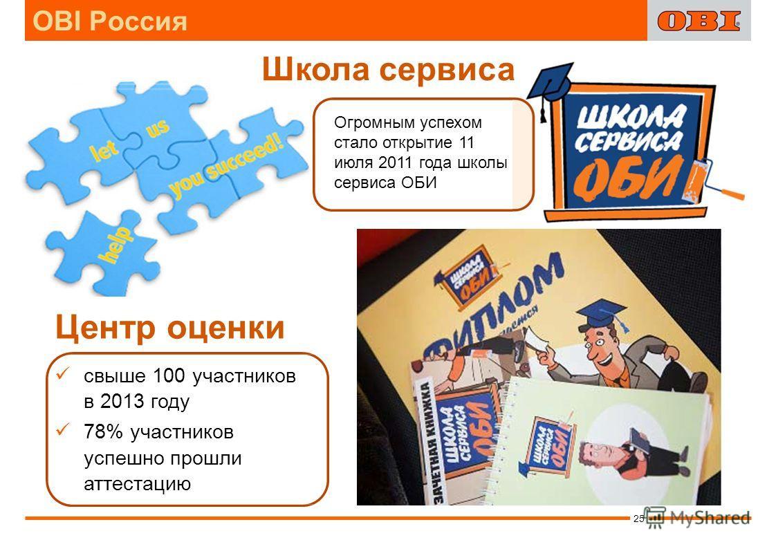Школа сервиса Центр оценки свыше 100 участников в 2013 году 78% участников успешно прошли аттестацию Огромным успехом стало открытие 11 июля 2011 года школы сервиса ОБИ 25 OBI Россия
