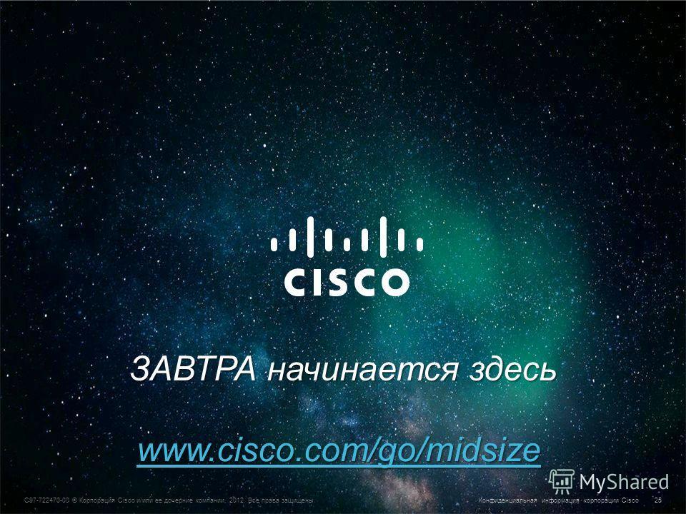 Конфиденциальная информация корпорации Cisco © Корпорация Cisco и/или ее дочерние компании, 2013. Все права защищены. 25 C97-722470-00 © Корпорация Cisco и/или ее дочерние компании, 2012. Все права защищены. Конфиденциальная информация корпорации Cis