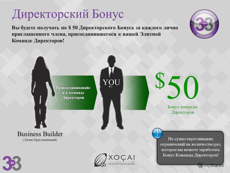 Директорский Бонус Присоединившийс я к команде Директоров Вы будете получать по $ 50 Директорского Бонуса за каждого лично приглашенного члена, присоединившегося к вашей Элитной Команде Директоров! $ 50 Business Builder (Лично Приглашённый) YOU Бонус