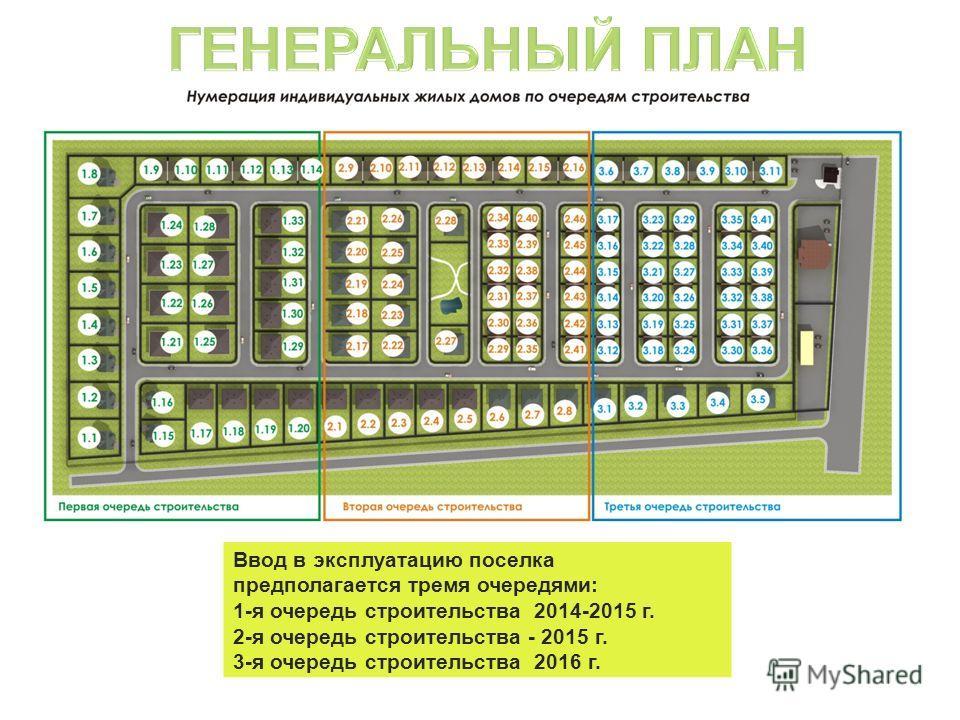 Ввод в эксплуатацию поселка предполагается тремя очередями: 1-я очередь строительства 2014-2015 г. 2-я очередь строительства - 2015 г. 3-я очередь строительства 2016 г.