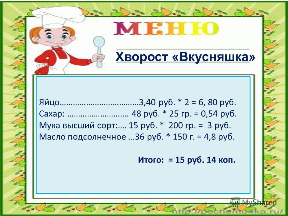 Яйцо………………………………3,40 руб. * 2 = 6, 80 руб. Сахар: ………………………. 48 руб. * 25 гр. = 0,54 руб. Мука высший сорт:…. 15 руб. * 200 гр. = 3 руб. Масло подсолнечное …36 руб. * 150 г. = 4,8 руб. Итого: = 15 руб. 14 коп. Хворост «Вкусняшка»