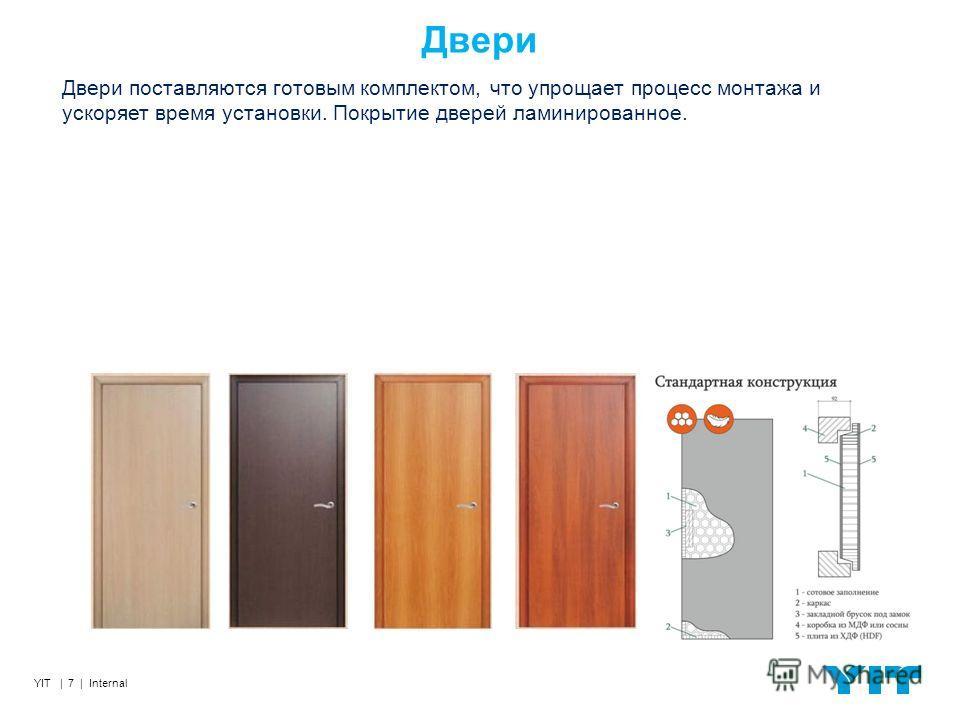 YIT | 7 | Internal Двери Двери поставляются готовым комплектом, что упрощает процесс монтажа и ускоряет время установки. Покрытие дверей ламинированное.