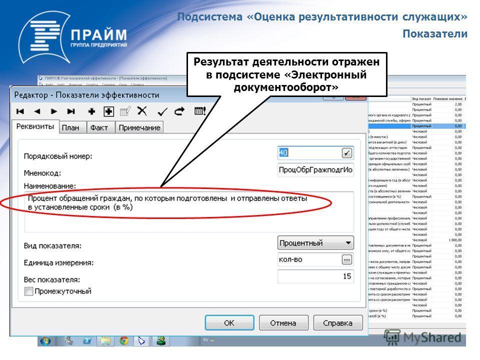 Результат деятельности отражен в подсистеме «Электронный документооборот» Подсистема «Оценка результативности служащих» Показатели