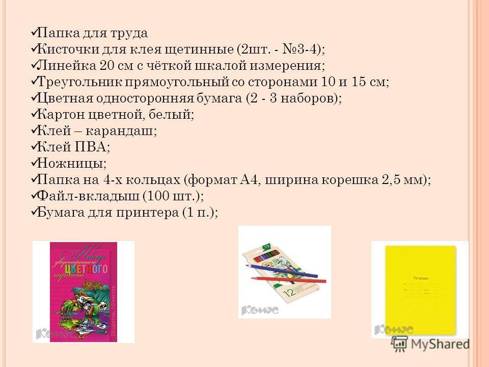 Папка для труда Кисточки для клея щетинные (2 шт. - 3-4); Линейка 20 см с чёткой шкалой измерения; Треугольник прямоугольный со сторонами 10 и 15 см; Цветная односторонняя бумага (2 - 3 наборов); Картон цветной, белый; Клей – карандаш; Клей ПВА; Ножн