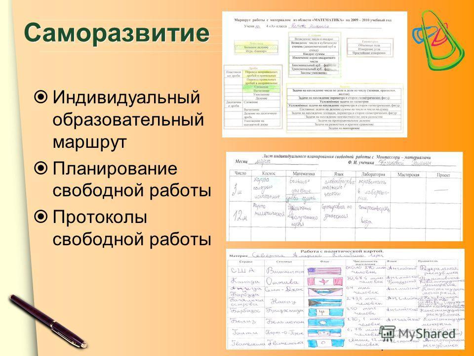ЦПСО «ТОЧА ПСИ» Саморазвитие Индивидуальный образовательный маршрут Планирование свободной работы Протоколы свободной работы
