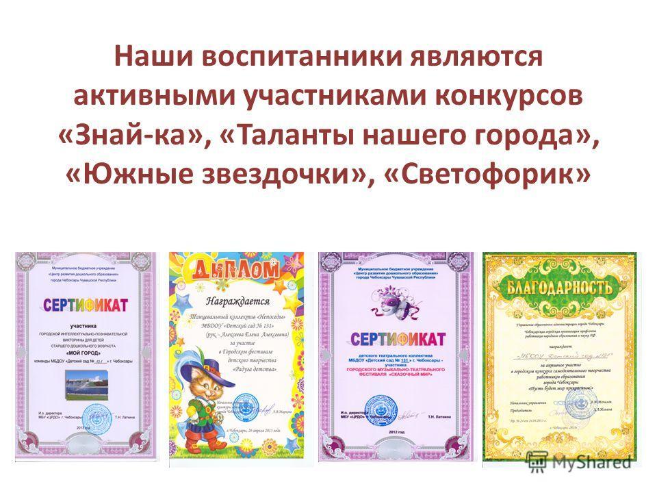 Наши воспитанники являются активными участниками конкурсов «Знай-ка», «Таланты нашего города», «Южные звездочки», «Светофорик»