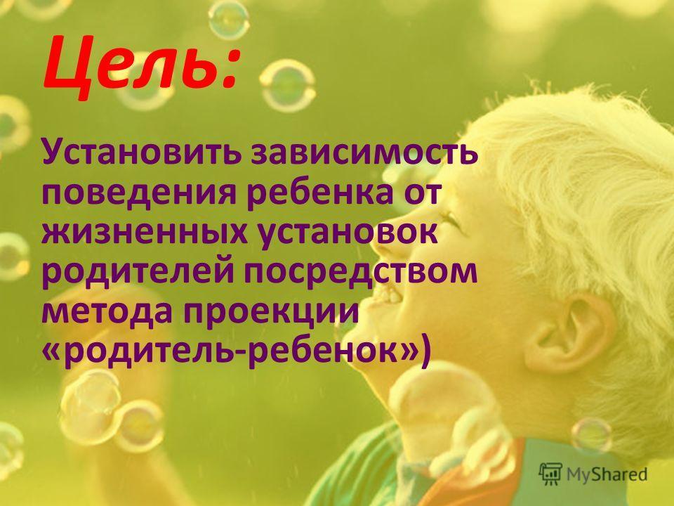 Цель: Установить зависимость поведения ребенка от жизненных установок родителей посредством метода проекции «родитель-ребенок»)