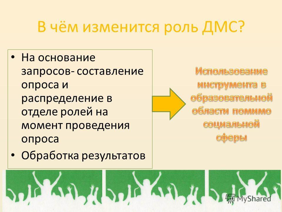 В чём изменится роль ДМС? На основание запросов- составление опроса и распределение в отделе ролей на момент проведения опроса Обработка результатов