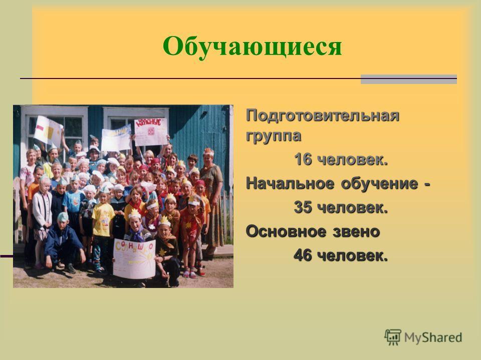 Обучающиеся Подготовительная группа 16 человек. Начальное обучение - 35 человек. Основное звено 46 человек.