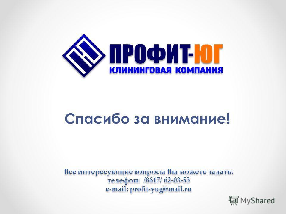 Спасибо за внимание! Все интересующие вопросы Вы можете задать: телефон: /8617/ 62-03-53 e-mail: profit-yug@mail.ru Все интересующие вопросы Вы можете задать: телефон: /8617/ 62-03-53 e-mail: profit-yug@mail.ru