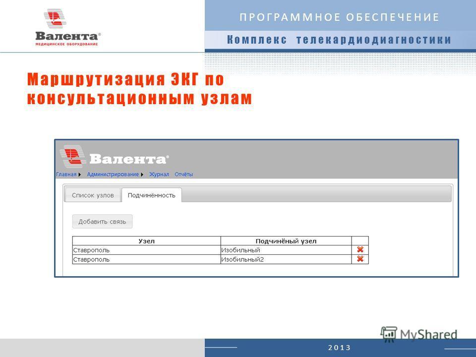 2013 Маршрутизация ЭКГ по консультационным узлам ПРОГРАММНОЕ ОБЕСПЕЧЕНИЕ Комплекс телекардиодиагностики