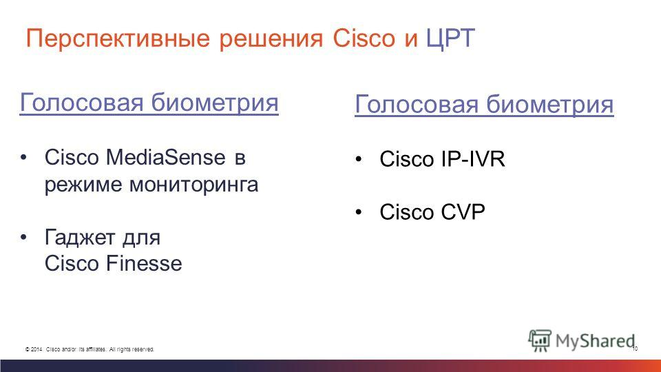 10 © 2014 Cisco and/or its affiliates. All rights reserved. Перспективные решения Cisco и ЦРТ Голосовая биометрия Cisco MediaSense в режиме мониторинга Гаджет для Cisco Finesse Голосовая биометрия Cisco IP-IVR Cisco CVP