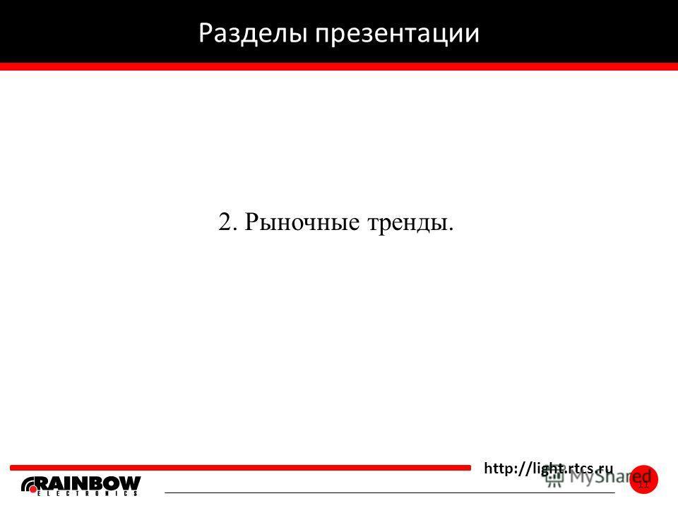 11 http://light.rtcs.ru 11 Разделы презентации 2. Рыночные тренды.