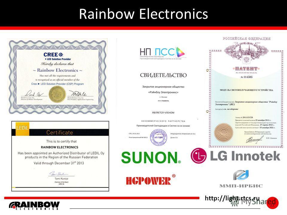 22 http://light.rtcs.ru 22 Rainbow Electronics