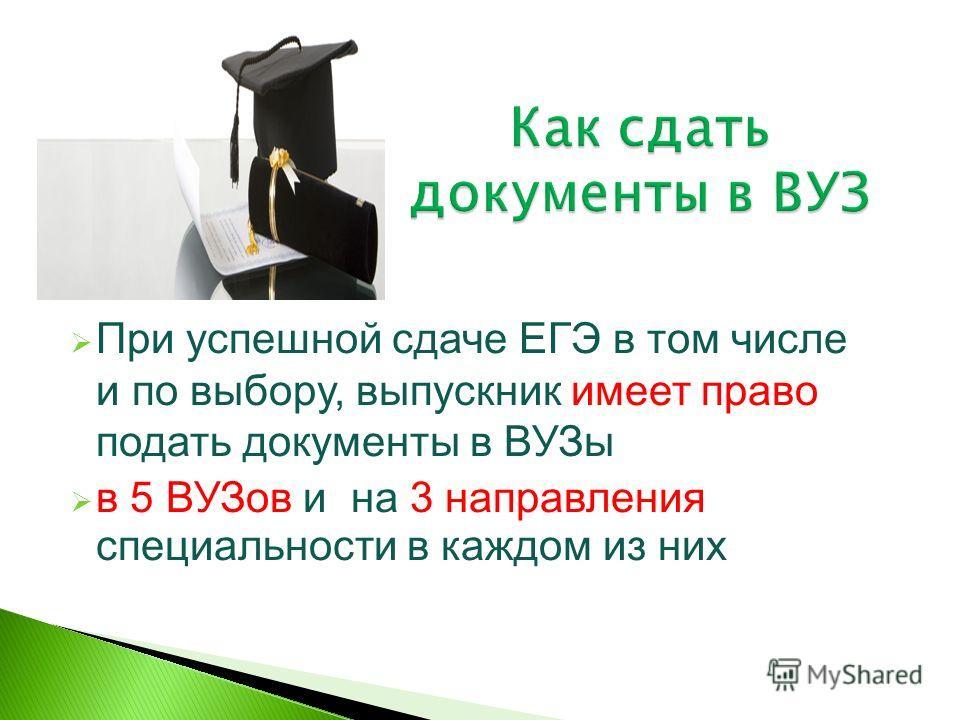 При успешной сдаче ЕГЭ в том числе и по выбору, выпускник имеет право подать документы в ВУЗы в 5 ВУЗов и на 3 направления специальности в каждом из них
