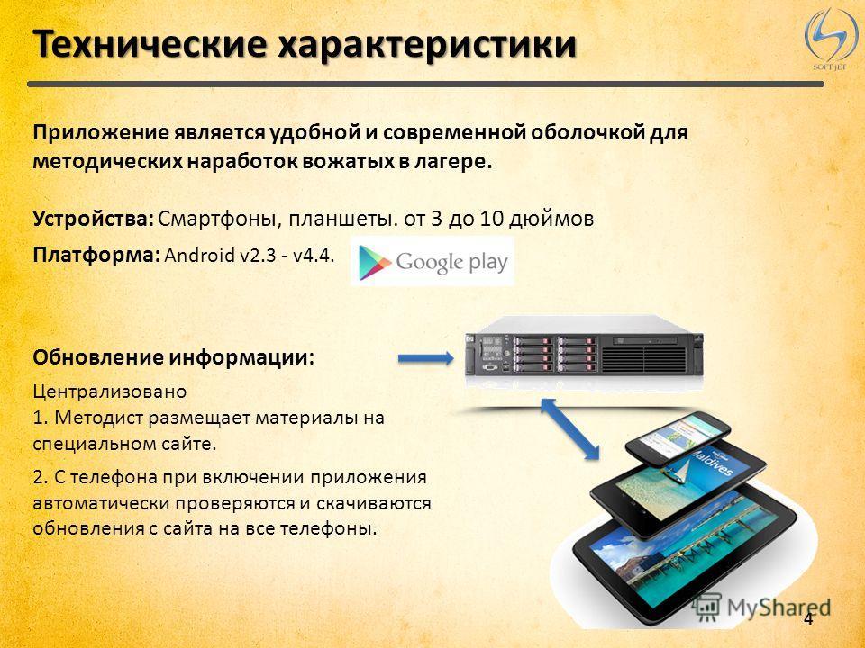 4 Технические характеристики Приложение является удобной и современной оболочкой для методических наработок вожатых в лагере. Устройства: Смартфоны, планшеты. от 3 до 10 дюймов Платформа: Android v2.3 - v4.4. Обновление информации: Централизовано 1.