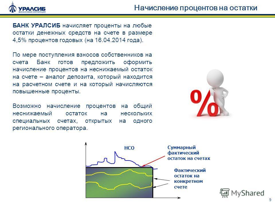 9 Начисление процентов на остатки Суммарный фактический остаток на счетах НСО Фактический остаток на конкретном счете БАНК УРАЛСИБ начисляет проценты на любые остатки денежных средств на счете в размере 4,5% процентов годовых (на 16.04.2014 года). По