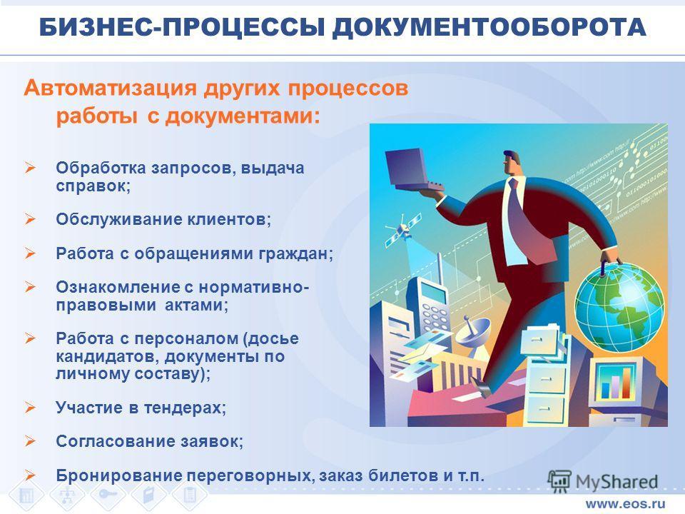 Автоматизация других процессов работы с документами: Обработка запросов, выдача справок; Обслуживание клиентов; Работа с обращениями граждан; Ознакомление с нормативно- правовыми актами; Работа с персоналом (досье кандидатов, документы по личному сос