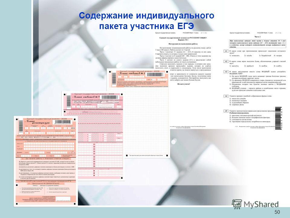 50 Содержание индивидуального пакета участника ЕГЭ