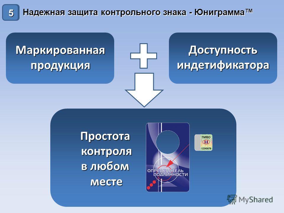 Надежная защита контрольного знака - Юниграмма 10 Простотаконтроля в любом месте Маркированнаяпродукция Доступностьиндетификатора 5
